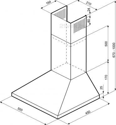 Вытяжка купольная KRONAsteel JANNA 500 (Inox) - маштабный чертеж