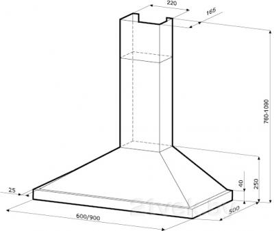 Вытяжка купольная KRONAsteel GALA 600 3P (Inox) - схема