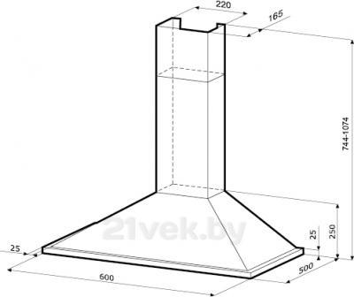 Вытяжка купольная KRONAsteel Solang Smart 3P 60 (нержавеющая сталь) - маштабный чертеж