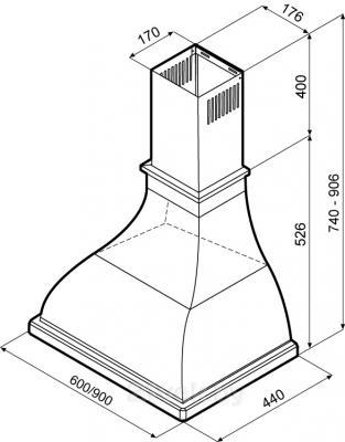 Вытяжка купольная KRONAsteel Alisa Electronic 60 (белый/бронза) - схема