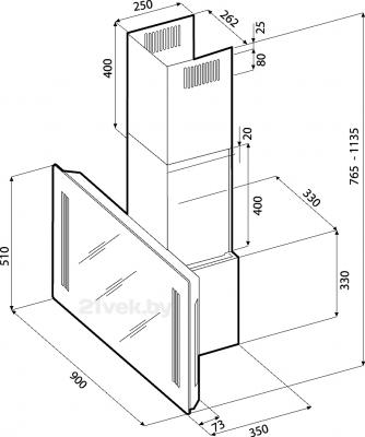 Вытяжка декоративная KRONAsteel Naomi Mirror 900 5P-S (Black) - маштабный чертеж