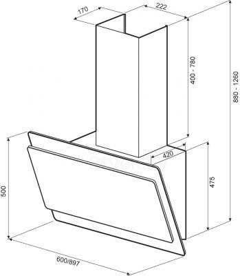 Вытяжка декоративная KRONAsteel Angelica 90 Sensor (белый) - схема