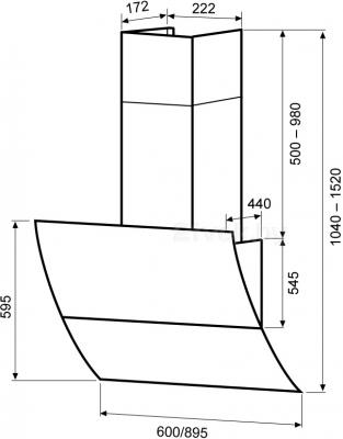 Вытяжка декоративная KRONAsteel Celesta 90 Sensor (белый) - схема