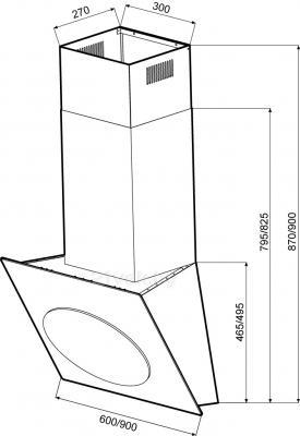 Вытяжка декоративная KRONAsteel Grace 900 3P-S (White) - схема