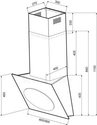 Вытяжка декоративная KRONAsteel Futuro 600 3P-S  (White) - схема