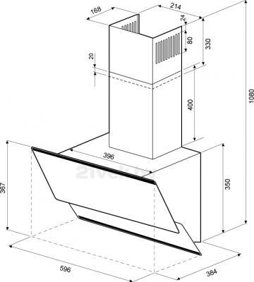 Вытяжка декоративная KRONAsteel Irida 60 (черный, кнопочное управление) - маштабный чертеж