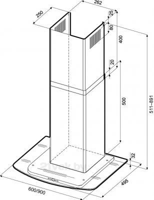 Вытяжка Т-образная KRONAsteel Jasmin Smart 900 5P (Inox Glass) - маштабный чертеж