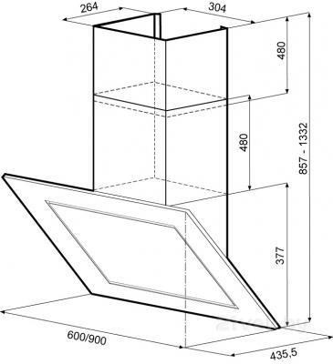 Вытяжка декоративная KRONAsteel Lina 90 4P-S (черный) - схема