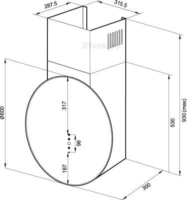 Вытяжка декоративная KRONAsteel Margo 600 4P-S (Black) - маштабный чертеж