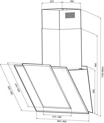 Вытяжка декоративная KRONAsteel Natali 60 3P-S (черный) - схема