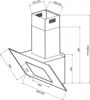 Вытяжка декоративная KRONAsteel Ofelia 90 3P-S (черный) - схема