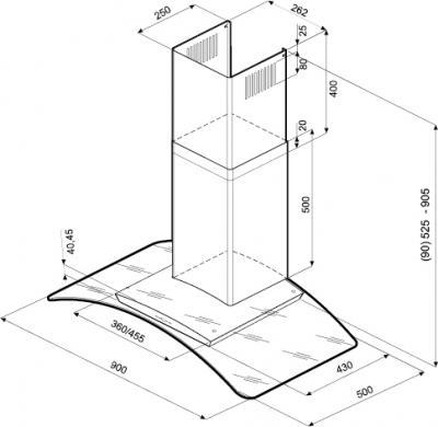 Вытяжка купольная KRONAsteel SCARLETT Slim 5P 900 (Inox Glass) - маштабный чертеж