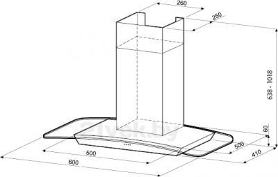 Вытяжка купольная KRONAsteel SCARLETT 600 Smart 5P LCD multy - маштабный чертеж