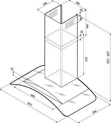 Вытяжка купольная KRONAsteel Sharlotta 600 3P (Black-Dark Glass) - маштабный чертеж