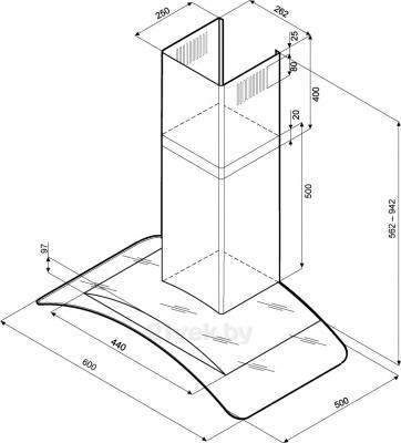 Вытяжка купольная KRONAsteel Sharlotta Sensor 600 (Inox Glass) - схема