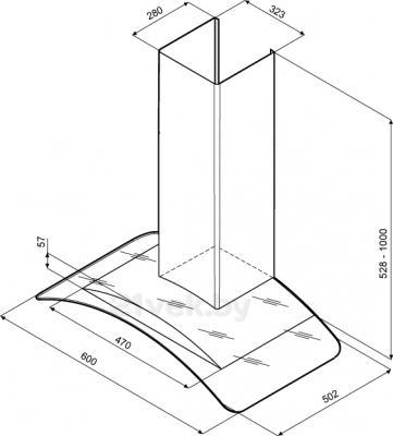 Вытяжка купольная KRONAsteel Sandy 60 Sensor (нержавеющая сталь) - схема