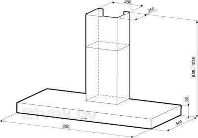 Вытяжка Т-образная KRONAsteel Stella 600 5P (Inox) - схема