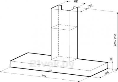 Вытяжка Т-образная KRONAsteel Stella 900 5P (Inox) - схема