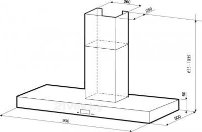Вытяжка Т-образная KRONAsteel STELLA Smart 5P LCD (900) - схема