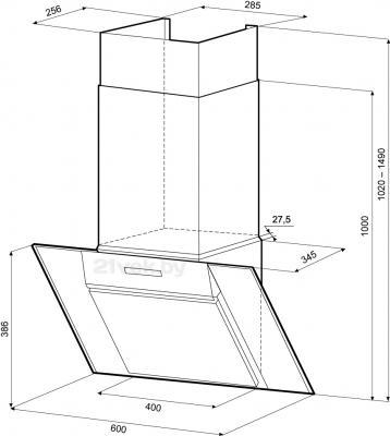Вытяжка декоративная KRONAsteel Simona 60 3S (черный) - схема