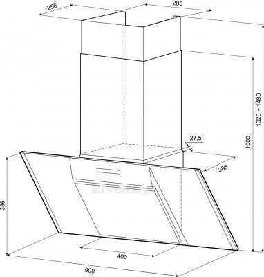 Вытяжка декоративная KRONAsteel Simona 90 3S (нержавеющая сталь-черный) - схема
