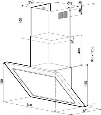 Вытяжка декоративная KRONAsteel Aida Silent 60 5P (нержавеющая сталь) - схема