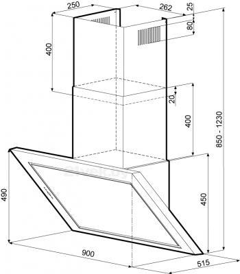 Вытяжка декоративная KRONAsteel Aida Silent 90 5P (нержавеющая сталь-черный) - схема