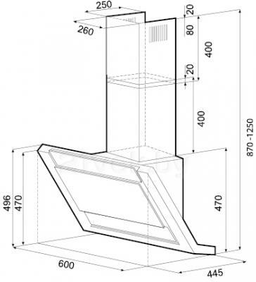 Вытяжка декоративная KRONAsteel Amanda Silent 60 5P (белое стекло) - схема