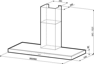Вытяжка Т-образная KRONAsteel Stella Silent Smart 600 Light Glass 5P - схема
