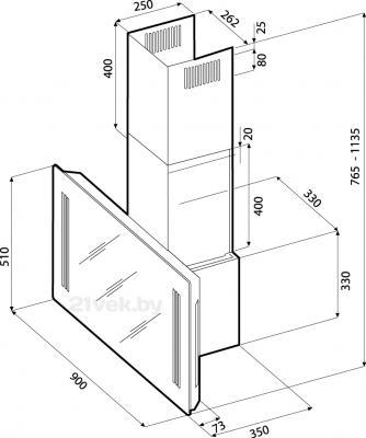 Вытяжка декоративная KRONAsteel Naomi Silent Mirror 90 5P-S (черный) - схема