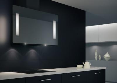 Вытяжка декоративная KRONAsteel Naomi Silent Mirror 90 5P-S (черный) - в интерьере