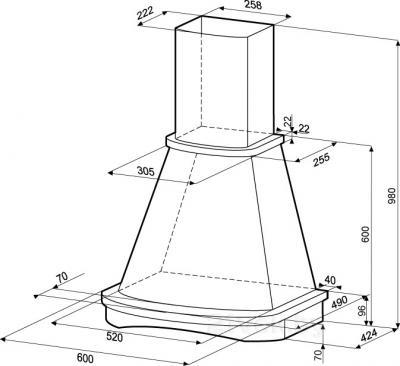 Вытяжка купольная KRONAsteel Gretta CPB 60 - схема