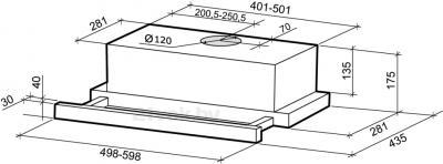 Вытяжка телескопическая Shindo Mio Sensor 50 W/WG 3E - схема