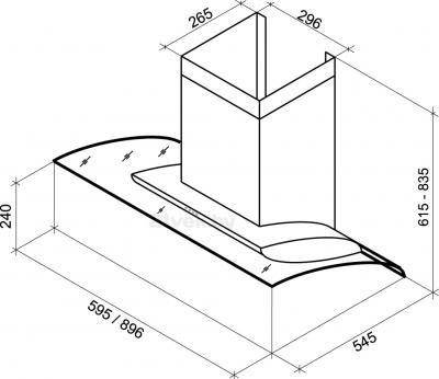 Вытяжка декоративная Shindo AVIOR sensor 60 SS/BG 3ETC - схема
