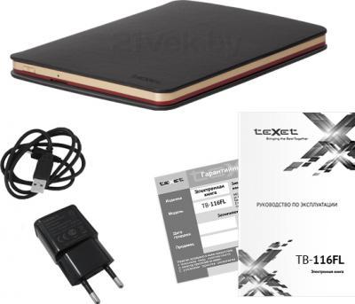 Электронная книга TeXet TB-116FL (4GB, Red) - комплектация