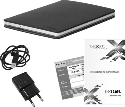 Электронная книга TeXet TB-116FL (4GB, Gray) - комплектация