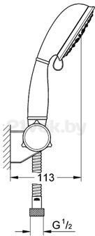 Душевой гарнитур GROHE Tempesta New Rustic IV 27805000 - маштабный чертеж