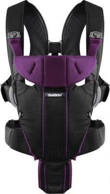 Эрго-рюкзак BabyBjorn Miracle Cotton Mix 0960.53 (черно-лиловый) - общий вид