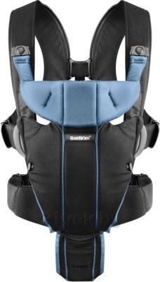Сумка-кенгуру BabyBjorn Miracle Cotton Mix 0960.95 (черно-голубой) - общий вид