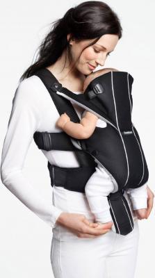 Сумка-кенгуру BabyBjorn Miracle Cotton Mix 0960.95 (черно-голубой) - ребенок лицом к маме (рюкзак цвет Black-Silver)
