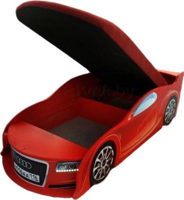 Детская кровать-машинка МебеЛев Ауди А6-М (красная) - подъемный механиз