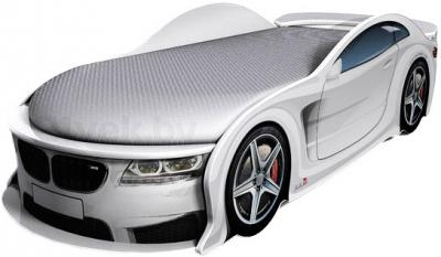 Детская кровать-машинка МебеЛев BMW-М (белая) - общий вид