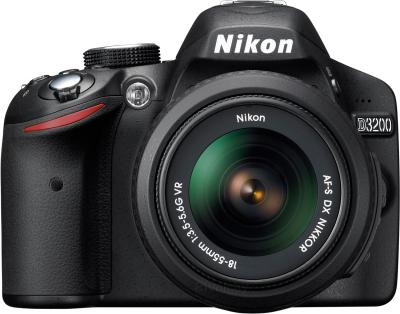 Зеркальный фотоаппарат Nikon D3200 Kit 18-55mm II (черный) - вид спереди