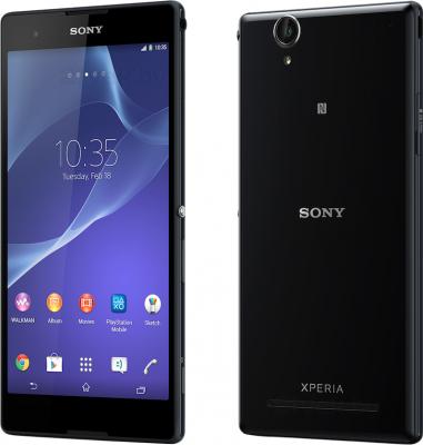 Смартфон Sony Xperia T2 Ultra Dual / D5322 (черный) - передняя и задняя панели