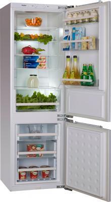 Холодильник с морозильником Haier BCFE625AWRU - пример заполненного холодильника