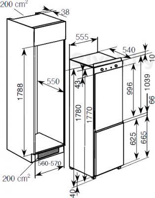 Холодильник с морозильником Haier BCFE625AWRU - схема встраивания
