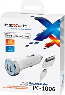 Автомобильное зарядное устройство TeXet TPC-1006 (белый) - упаковка