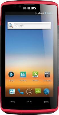 Смартфон Philips Xenium W7555 (Black-Red) - общий вид