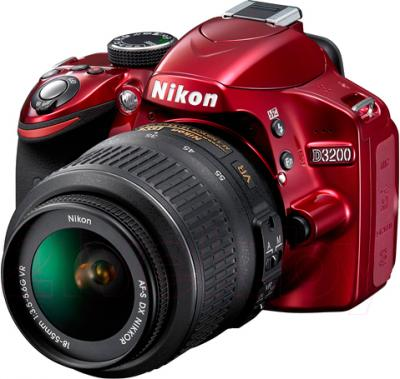 Зеркальный фотоаппарат Nikon D3200 Kit 18-55mm VR II (красный) - общий вид