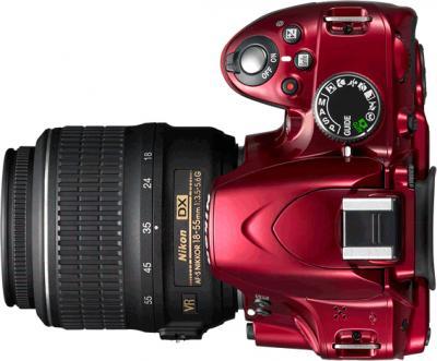 Зеркальный фотоаппарат Nikon D3200 Kit 18-55mm VR II (красный) - вд сверху